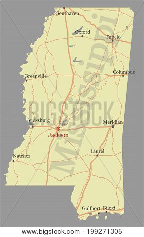 Mississippi accurate vector exact detailed State Map with Community Assistance and Activates Icons Original pastel Illustration. United States of America