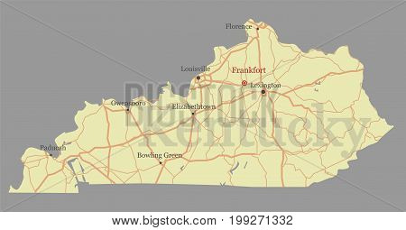 Kentucky accurate vector exact detailed State Map with Community Assistance and Activates Icons Original pastel Illustration. United States of America