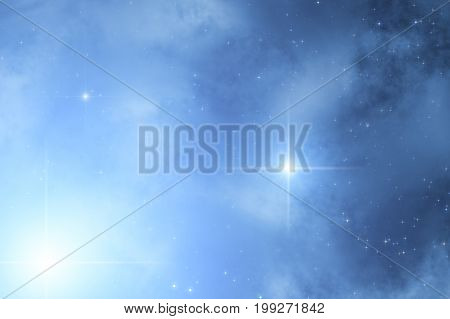 Milky way stars and constellation photographed with wide-angle lens. 2D render / illustration.