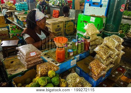 Food products for sale in Central Market, Maputo, Mozambique. February 2017.