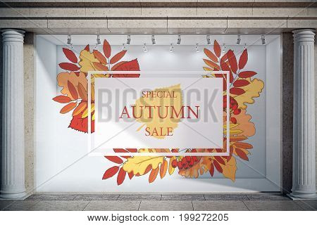 Storefront window display glass showcase exterior with concrete columns and creative autumn leaves fall foliage sale sketch drawing in daylight. Promo concept. 3D Rendering