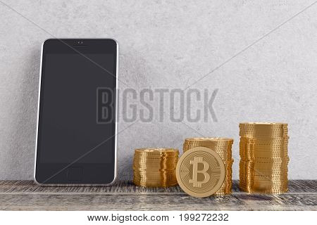 Abstract room interior with golden bitcoin piles and cellphone leaning on concrete wall and wooden floor. Cryptocurrency digital money and e-commerce concept. Mock up 3D Rendering