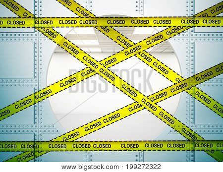 Bank vault background with yellow tape with the inscription - closed. Protection crime scene repairs concept. 3D Rendering