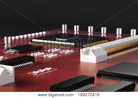 Close up of red motherboard on dark background. Technology circuit equipment processor concept. 3D Rendering