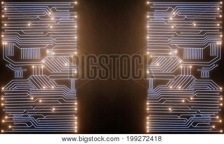Glowing bright circuit background with copy space. Technology innovation and future concept. 3D Rendering