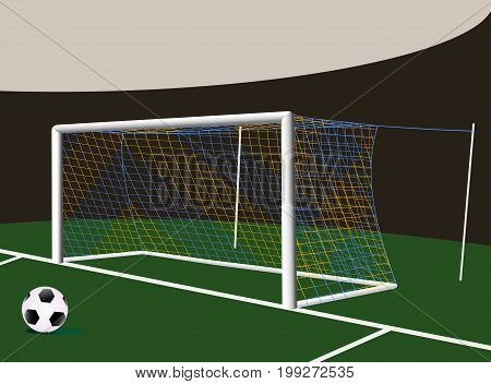 Soccer football goalpost with two colors net. Easy to remove yellow parts of nets.