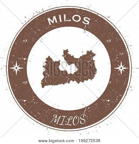 Milos Circular Patriotic Badge. Grunge Rubber Stamp With Island Flag, Map And Name Written Along Cir