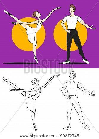 Ballet dancers man woman vector colored illustration sketch