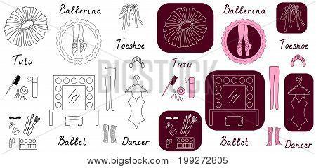 Ballet set vector icons colored illustration sketch