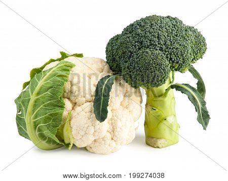Fresh Broccoli and Cauliflower isolated on white background