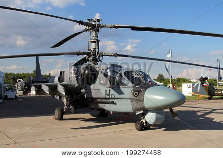 Moscow Region - July 21 2017: Shock Helicopter Ka-52 alligator at the International Aviation and Space Salon (MAKS) in Zhukovsky.