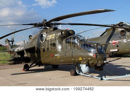 Moscow Region - July 21 2017: Shock Helicopter Mi-35M at the International Aviation and Space Salon (MAKS) in Zhukovsky.