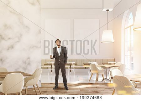 Luxury Marble Cafe, Two Posters, Man
