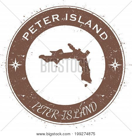 Peter Island Circular Patriotic Badge. Grunge Rubber Stamp With Island Flag, Map And Name Written Al
