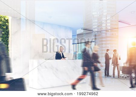 Business people walking in a marble office lobby with a reception table and glass wall rooms in the background. 3d rendering mock up toned image double exposure