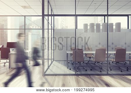 Business People In Office Lobby, Glass Wall