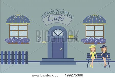 Pretty scenery in a rustic style. A cafe, beautiful girls, cups of coffee, two windows with a striped awnings, door, stairs, flowers.A cute bench. A fence. Vector illustration