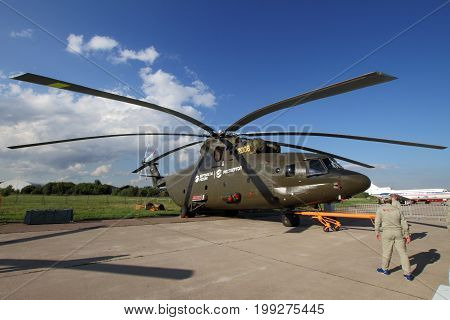 Moscow Region - July 21 2017: The world's largest load-lifting Helicopter Mi-26 at the International Aviation and Space Salon (MAKS) in Zhukovsky.