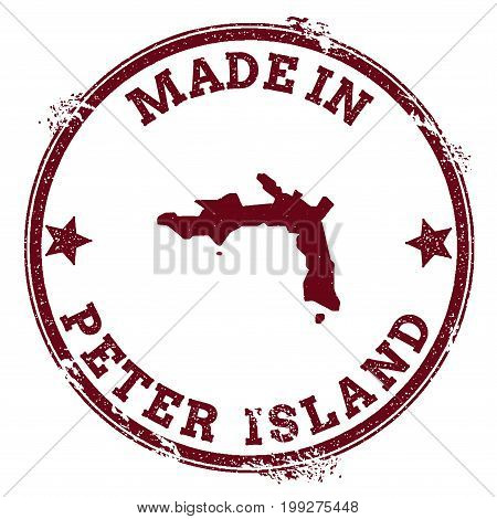 Peter Island Seal. Vintage Island Map Sticker. Grunge Rubber Stamp With Made In Text And Map Outline