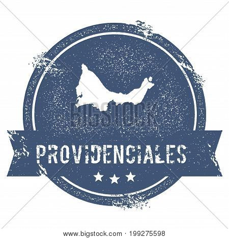 Providenciales Logo Sign. Travel Rubber Stamp With The Name And Map Of Island, Vector Illustration.