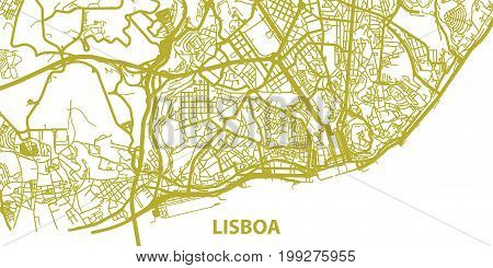 Detailed vector map of Lisboa in gold with title, scale 1:30 000, Portugal