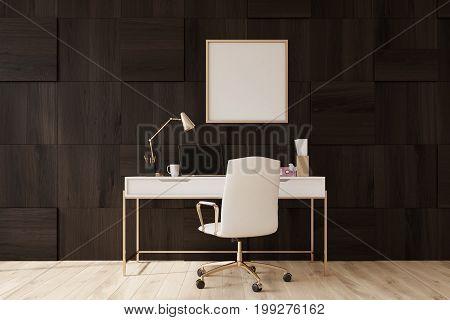 Dark Wooden Home Office, Poster