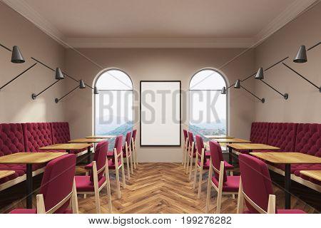 Dark Red Cafe Interior, Poster