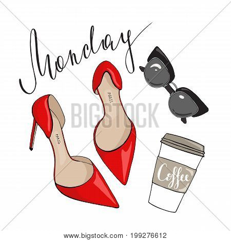 Red shoes sunglasses and coffee on a white background with the inscription on Monday.