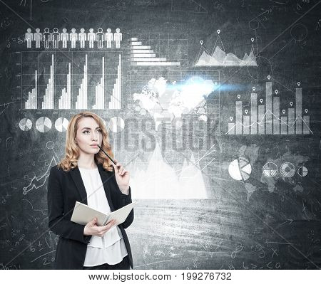 Red Haired Businesswoman With A Copybook, Graphs