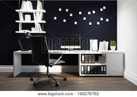 Black Wall Home Office, Black Chair Closeup