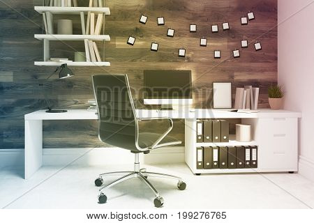 Dark Wooden Home Office, Black Chair Toned