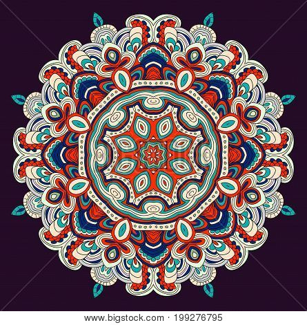 Round symmetrical pattern in blue, red, white and black colors. Mandala. Kaleidoscopic design. Cinco de mayo