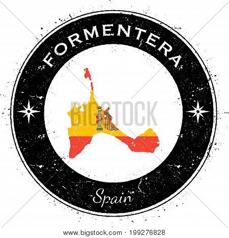 Formentera Circular Patriotic Badge. Grunge Rubber Stamp With Island Flag, Map And Name Written Alon