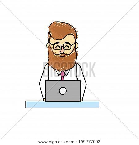 profesional businessman with laptop and corporate job vector illustration
