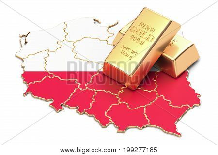 Foreign-exchange reserves of Poland concept 3D rendering isolated on white background