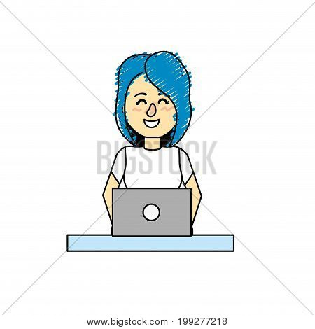 profesional businesswoman with laptop and corporate job vector illustration