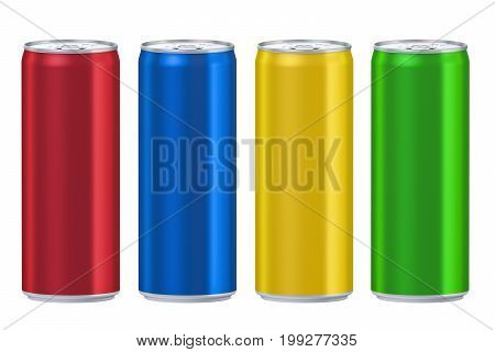 Set of colored drink metallic cans 3D rendering isolated on white background