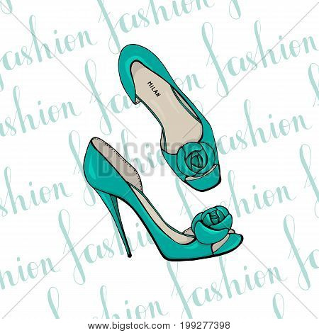 Turquoise womens dress shoes with floweron the toe
