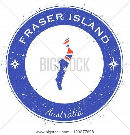 Fraser Island Circular Patriotic Badge. Grunge Rubber Stamp With Island Flag, Map And Name Written A