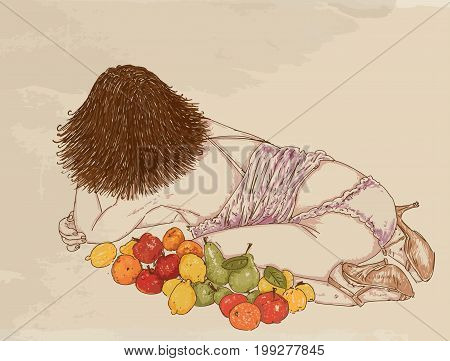 Portrait of a woman, back view, Lying down and lined with fruit