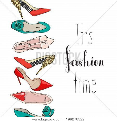 Banner with womens shoes and the inscription It s fashion time.