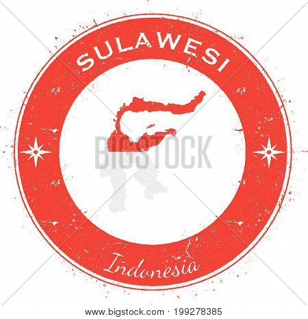 Sulawesi Circular Patriotic Badge. Grunge Rubber Stamp With Island Flag, Map And Name Written Along