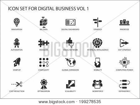 Digital business vector icon set with various symbols