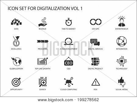 Digitalization icon vector set for topics like agile development, dev ops, globalization, opportunity, cloud computing, search, entrepreneur, integration, digital services