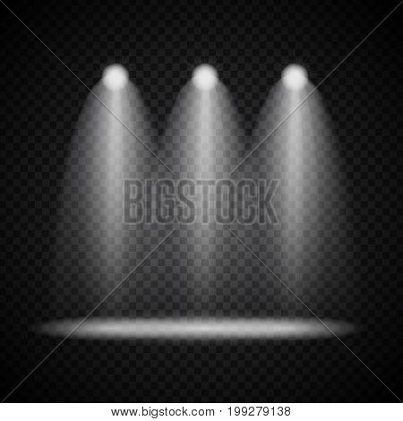 Realistic Bright Projectors Lighting Lamp with Spotlights Lighting Effects with Transparency Isolated on Transparent Background. Vector Illustration EPS10