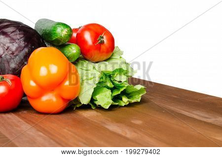 Vegetables On A Table Isolated On A White Background .fresh Vegetables.
