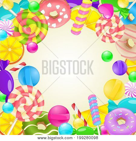 Sweet round frame. Different candies and sweets colorful background. Lollipop, candy, marmalade, candy cane, orange, lemon and donut on vector background