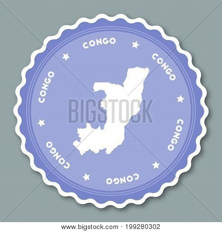Congo Sticker Flat Design. Round Flat Style Badges Of Trendy Colors With Country Map And Name. Count