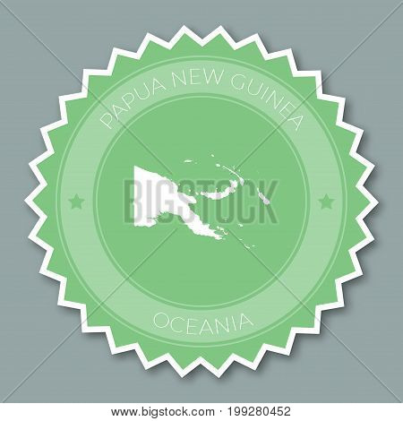 Papua New Guinea Badge Flat Design. Round Flat Style Sticker Of Trendy Colors With Country Map And N
