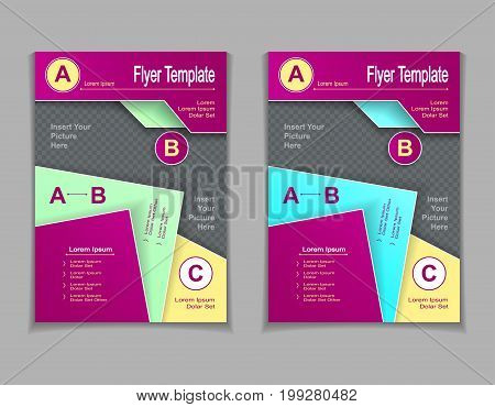 Set template of flyers or brochures or  magazines  covers with cut paper effect  in lilac light  blue  green yellow colors